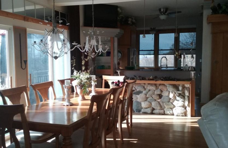 Rental dining room at At Your Wits End Vacation Rentals.