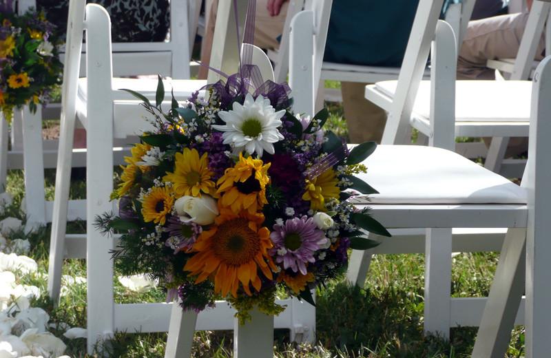 Wedding decor at Tumbling River Ranch.