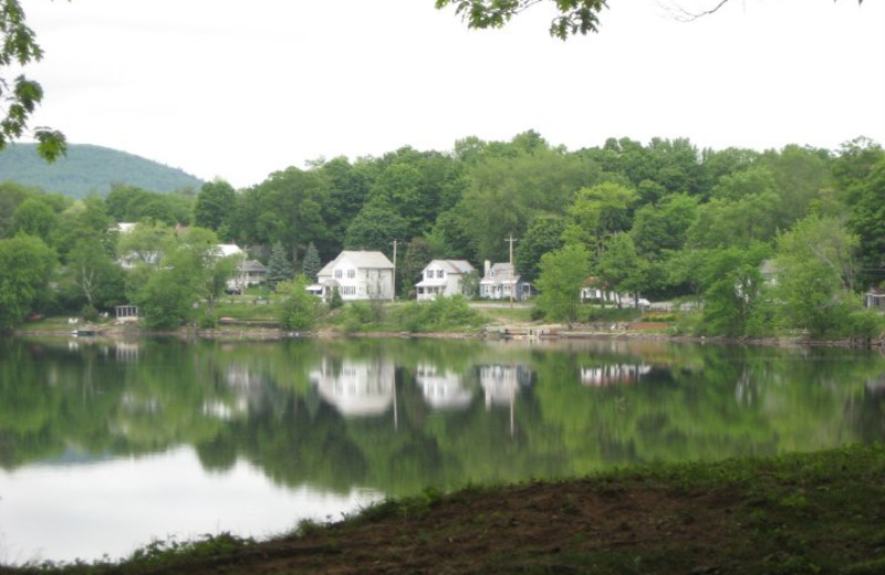 Lake view at The Elms Waterfront Cottages.