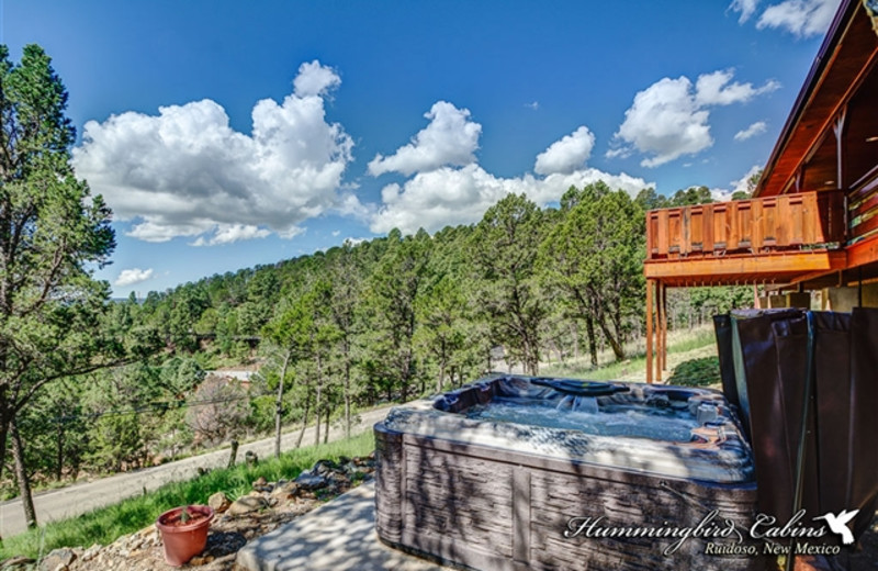 Exterior view of whirlpool tub and private deck at Hummingbird Cabins - Bear Crossing Vacation Rental
