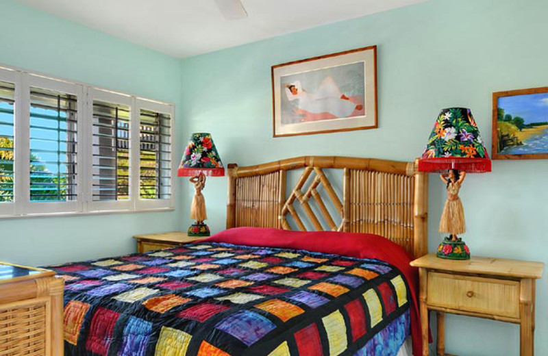 Vacation rental bedroom at Wailua Bay View Condos.