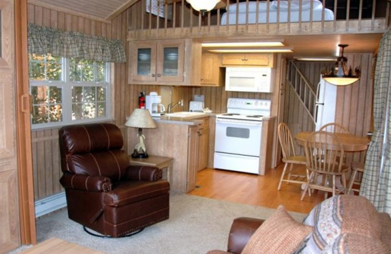 Cabin interior at Three Rivers Resort.