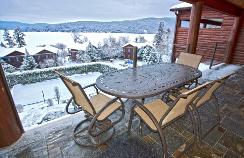 Winter balcony at The Lodges at Cresthaven on Lake George.