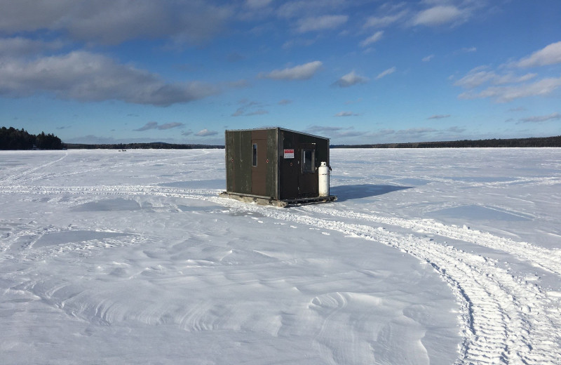 Ice fishing at The Birches Resort.