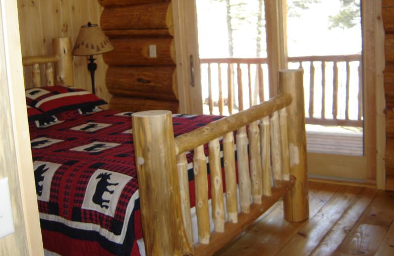 Cabin bedroom at Buckhorn on Caribou Lake.