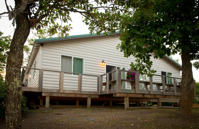 Cabin exterior at Tetu Island Lodge.