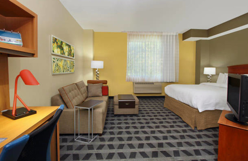 Guest room at TownePlace Suites San Jose Cupertino.