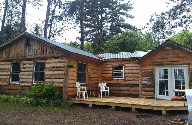 Cabin exterior at A Wilderness Haven Resort.