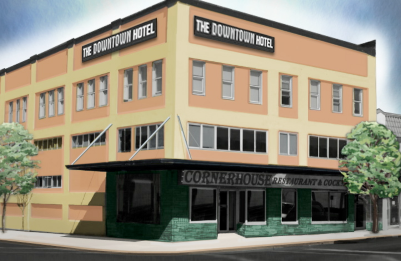 Exterior view of Port Angeles Downtown Hotel.