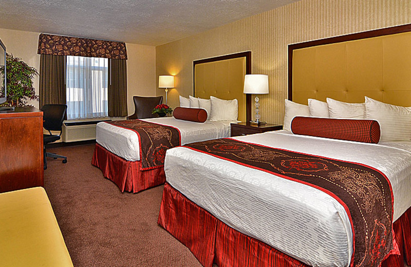 Double queen room at The Best Western Abbey Inn Hotel.