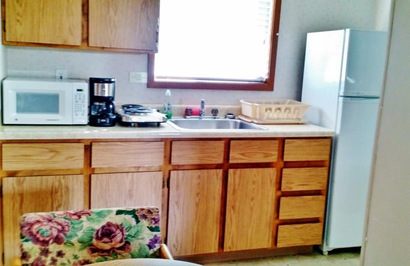 Guest kitchen at East Glacier Motel & Cabins.