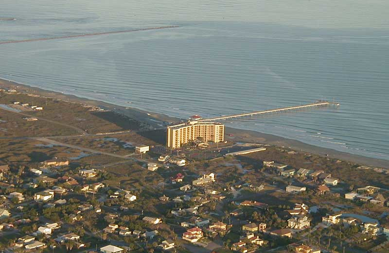 Aerial view of The Dunes Condominiums.
