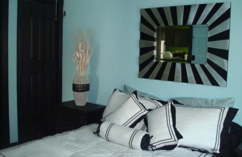 Guest bedroom at Twin Gables Resort.