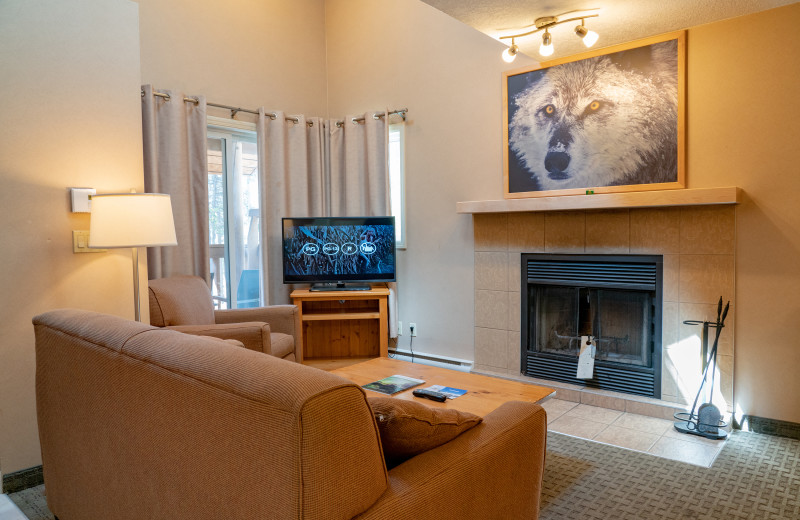 Guest living room at Banff Rocky Mountain Resort.