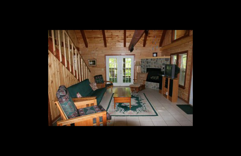 Cabin living room at Hummingbird Hill Cabin Rentals.