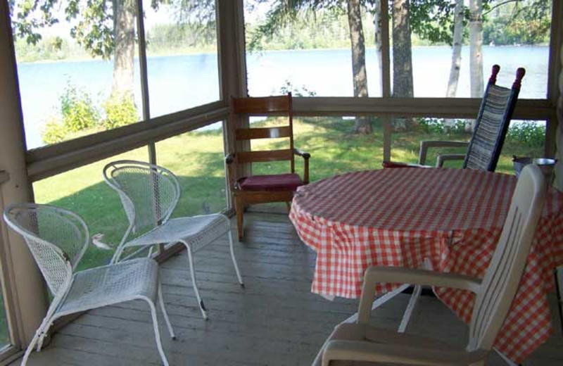 Cabin porch at Wilsons On Moosehead Lake.