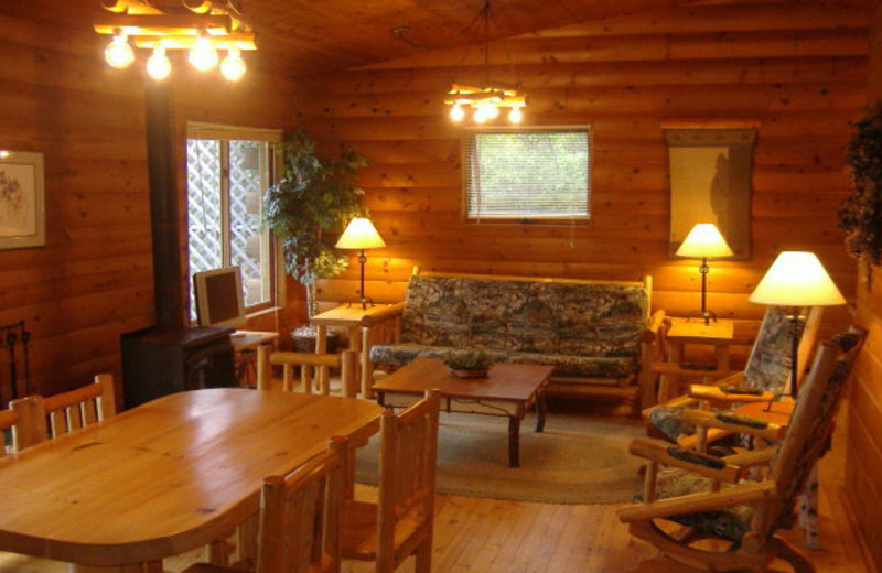 Cabin interior at Lodge of Whispering Pines.