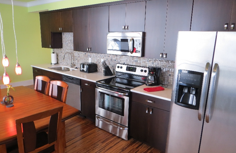 Condo kitchen and dining room at York Street Condos.