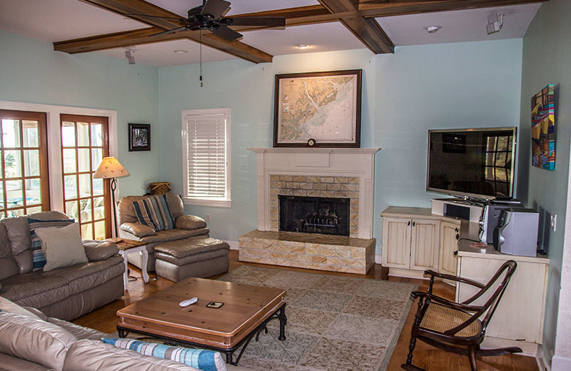 Rental living room at Fripp Island Golf & Beach Resort.