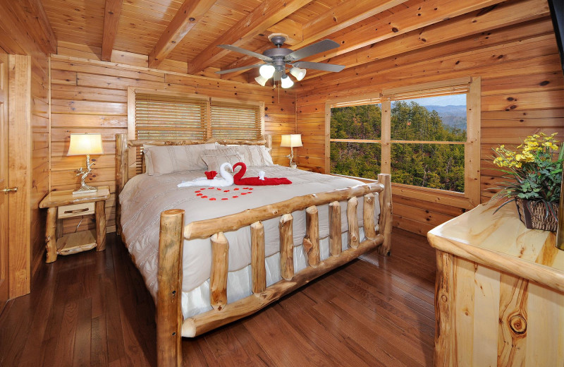 Cabin Bedroom At Outrageous Cabins LLC.