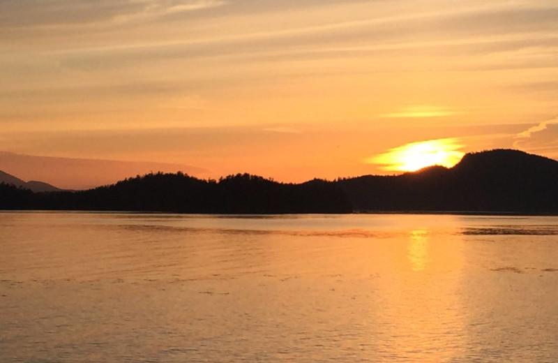 Sunset at Alaska's Big Salmon Lodge.