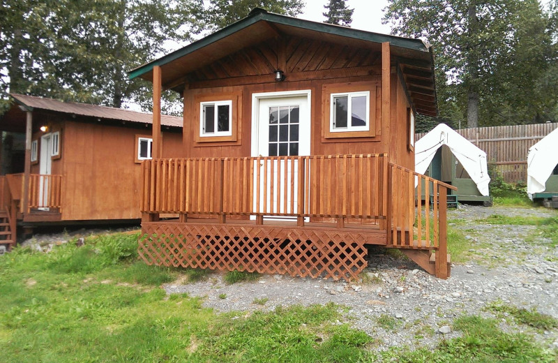 Cabin exterior at Gwin's Lodge & Kenai Peninsula Charter Booking Service.