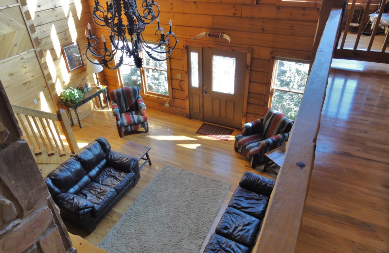 Rental exterior living room at Country Pines Log Homes.