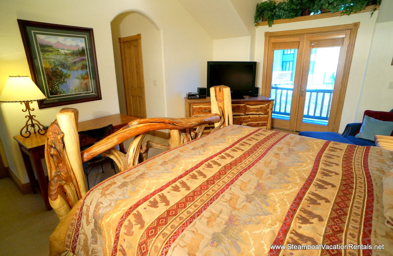 Rental bedroom at Steamboat Vacation Rentals.