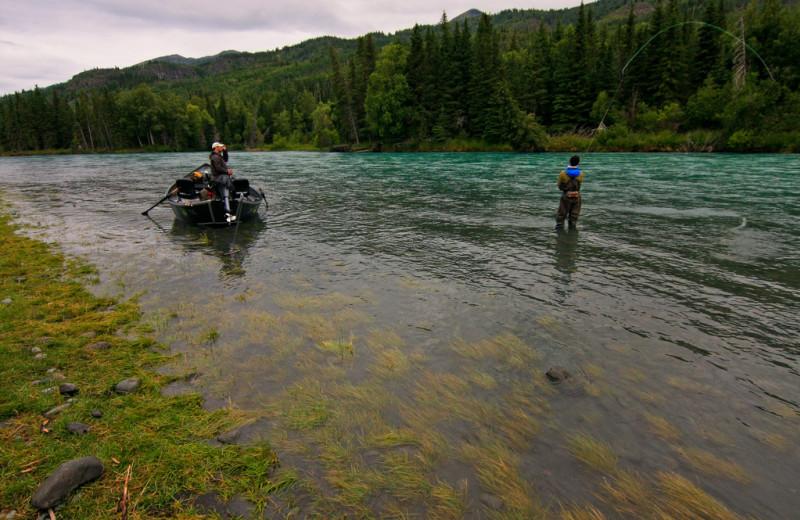Fishing on the river at Kenai Riverside Lodge.