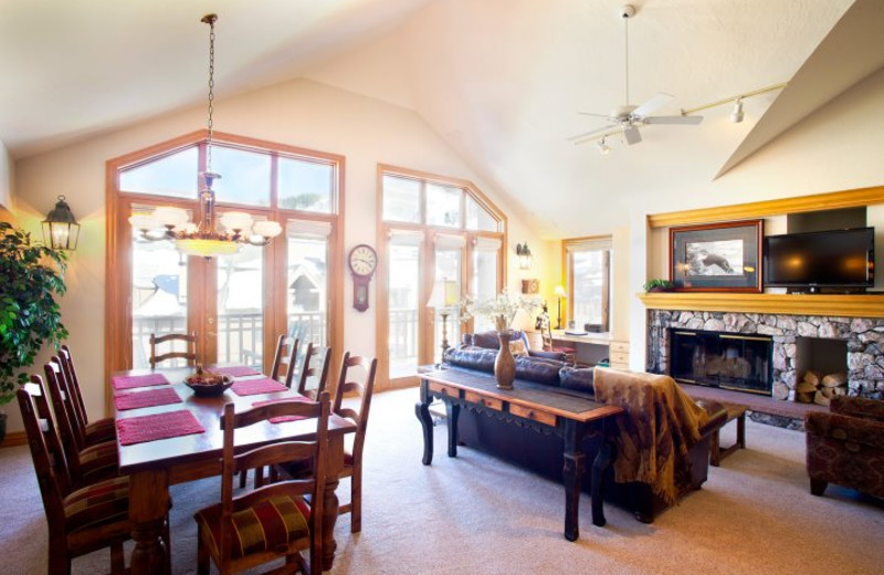 Vacation rental living area at Beaver Creek Lodge.