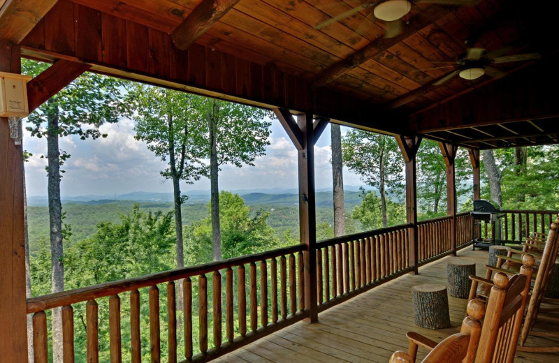 Cabin deck view at Mountain Top Downtown Lodging.