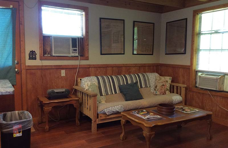 Cabin living room at Berry Creek Cabins.