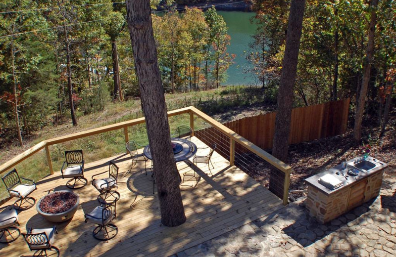 Patio at Beaver Lakefront Cabins.