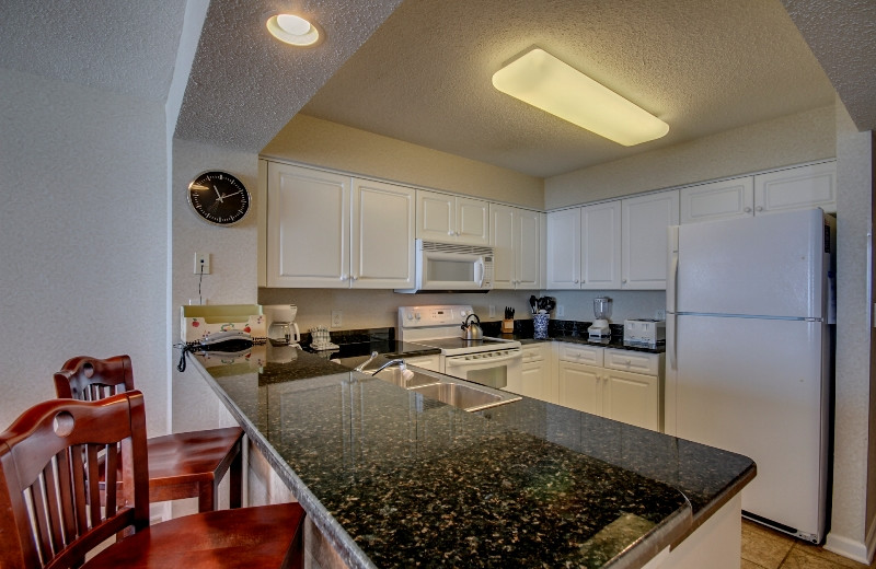 Rental kitchen at Seaside Vacations.