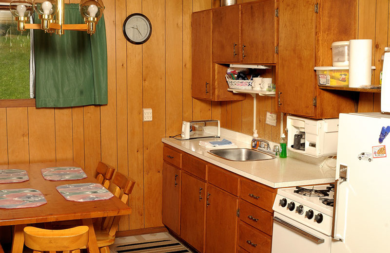 Cabin kitchen at Rough Rock Lodge.