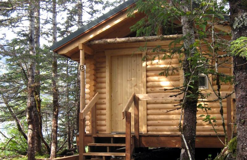 Cabin exterior at Kenai Fjords Glacier Lodge.
