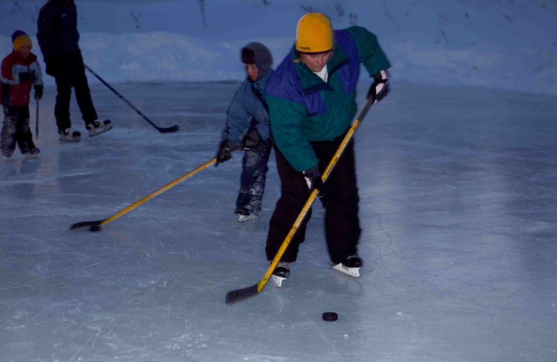 Ice hockey at Temperance Landing on Lake Superior.