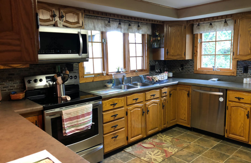 Rental kitchen at Cut Above Cabins.