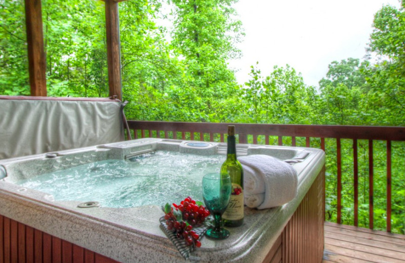 Rental hot tub at Auntie Belham's Cabin Rentals.