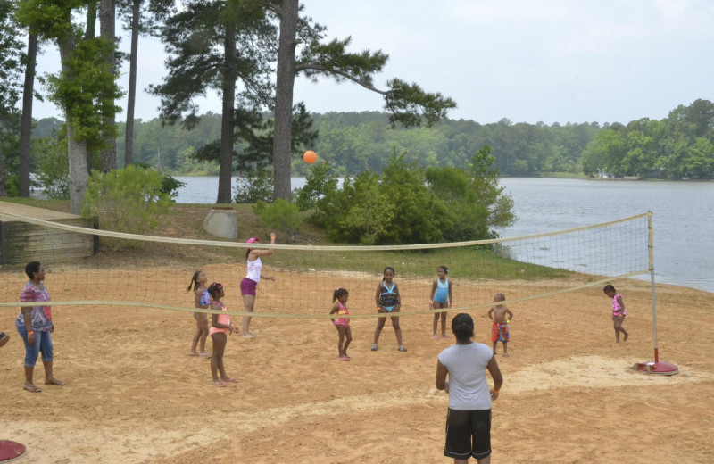 Volleyball court at Yogi on the Lake.