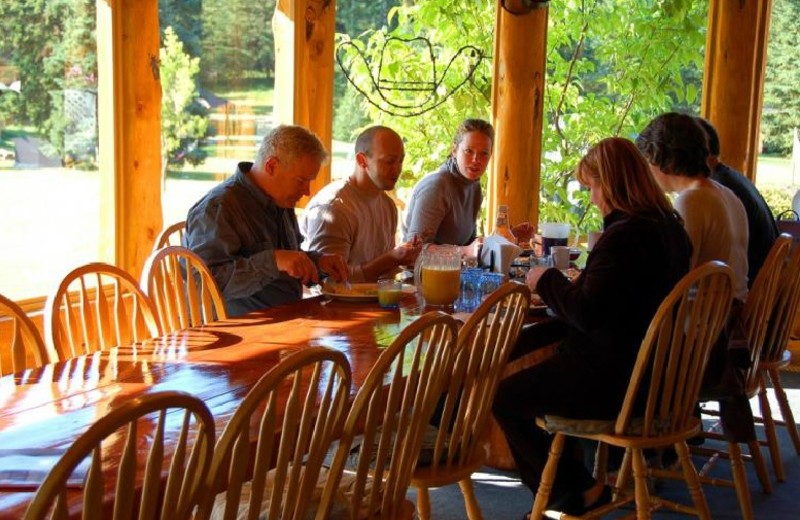Dining at Crystal Waters Guest Ranch.