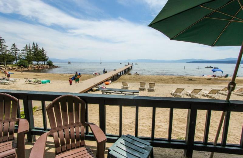 Vacation deck view at Vacasa Rentals Lake Tahoe.