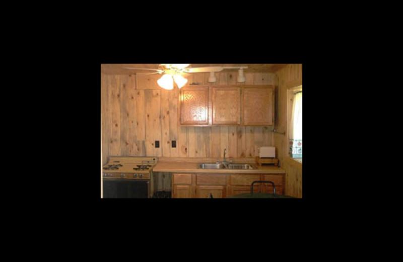 Cabin kitchen at Woodhaven Resort.