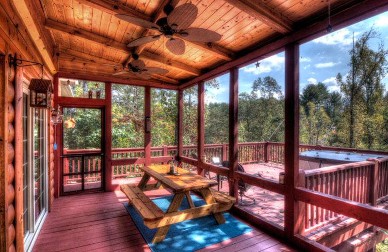 Cabin deck at Hidden Creek Cabins.