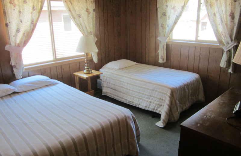 Cabin bedroom at Idle Hours Resort.