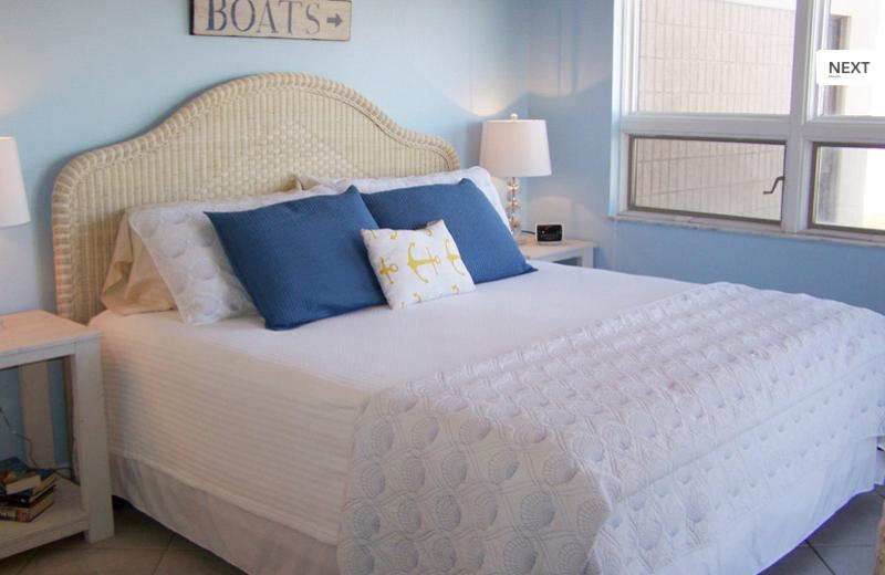 Rental bedroom at Gulf Strand Resort.
