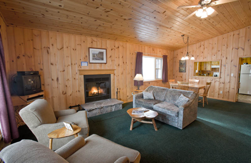 Cabin living room at Blue Spruce Resort.