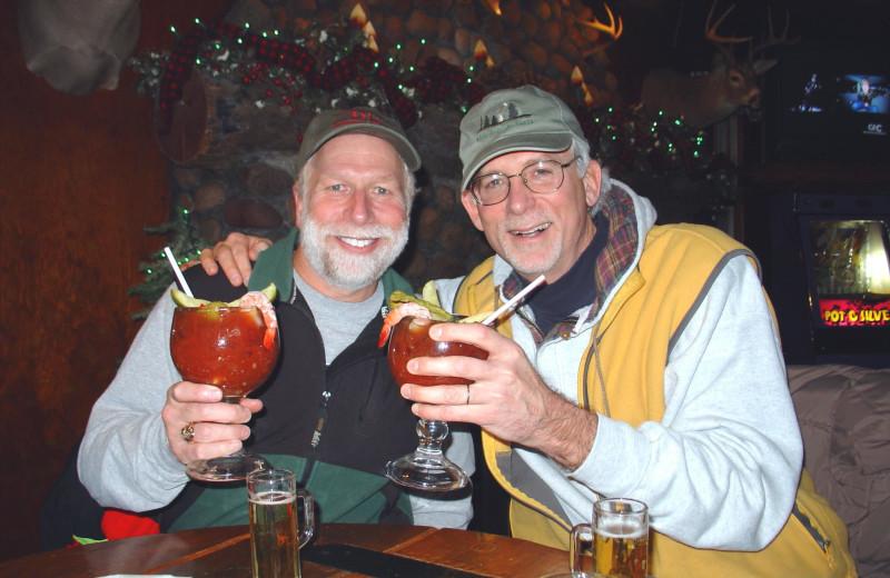 Enjoying at drink at Pitlik's Sand Beach Resort.