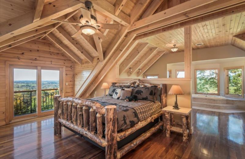 Rental bedroom at Stony Brook Cabins LLC.