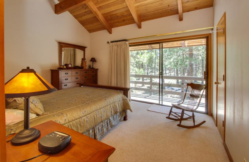 Vacation rental bedroom at Vacasa Rentals Sunriver.